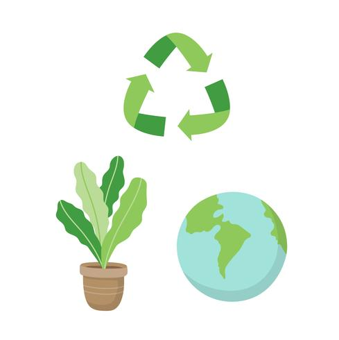 Reciclagem de sinal, uma planta e um planeta Terra. Ilustração do conceito ecológico definido no estilo cartoon, vetor