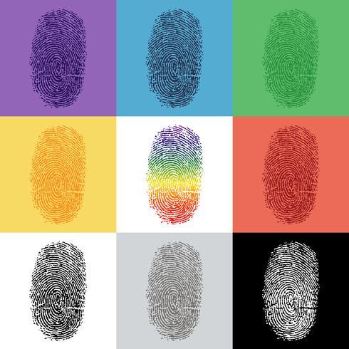 Conjunto de huellas dactilares de colores