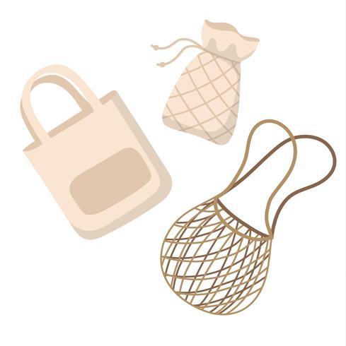 Sacs réutilisables en coton - illustration vectorielle zéro déchet en style cartoon, vector