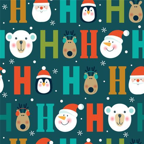 Christmas seamless pattern with polar bear, penguin, snowflakes, Santa and reindeer.