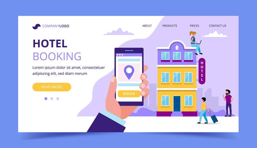 Modello di pagina di destinazione prenotazione hotel - illustrazione con piccole persone facendo varie attività.