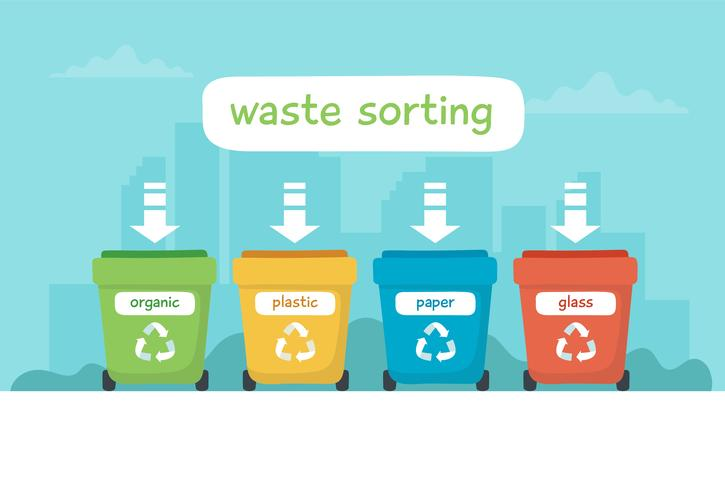 Illustrazione di smistamento dei rifiuti con diversi bidoni della spazzatura colorati con scritte, riciclaggio, sostenibilità.