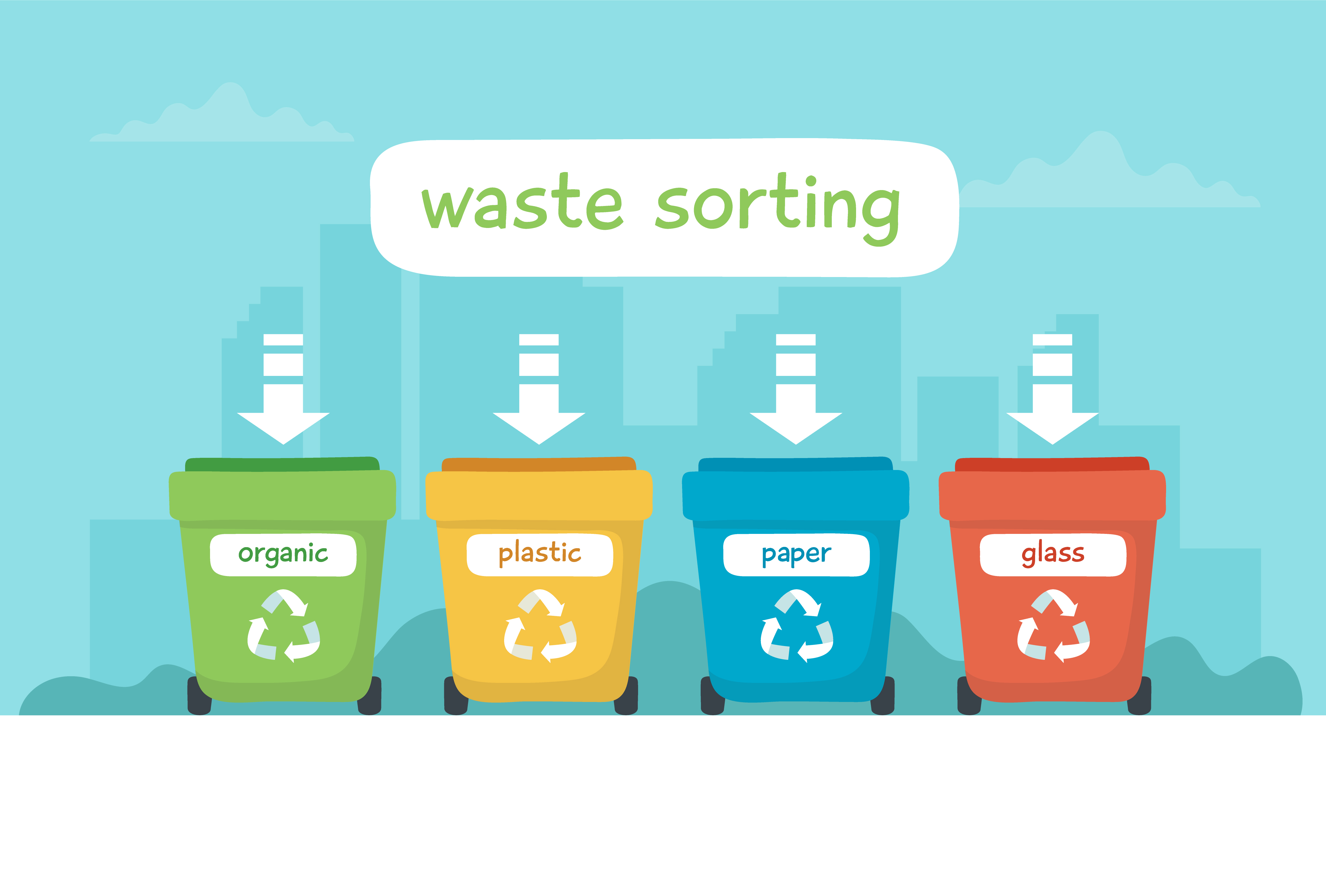 Waste Sorting Illustration With Different Colorful Garbage Bins With Lettering Recycling Sustainability Download Free Vectors Clipart Graphics Vector Art