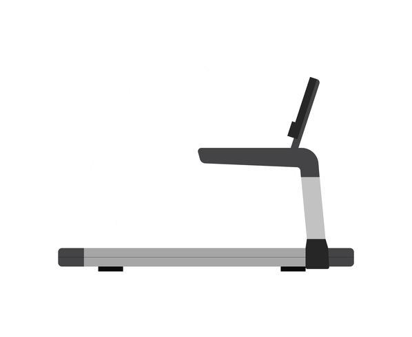 Tredmolen - sportuitrusting voor wandelen of hardlopen, geïsoleerd op een witte achtergrond. vectorillustratie