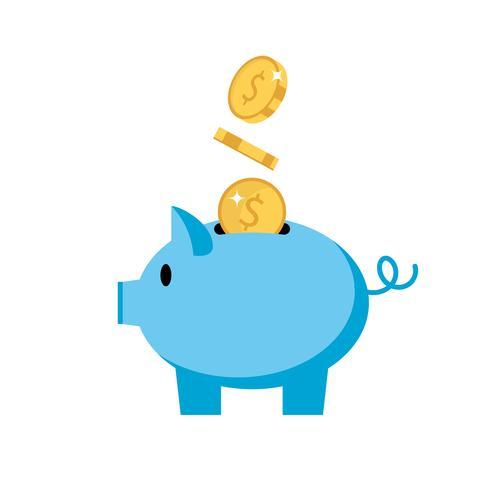 Mealheiro - porco com moedas, ilustração isolada do vetor no estilo liso, ícone para o investimento, finança.