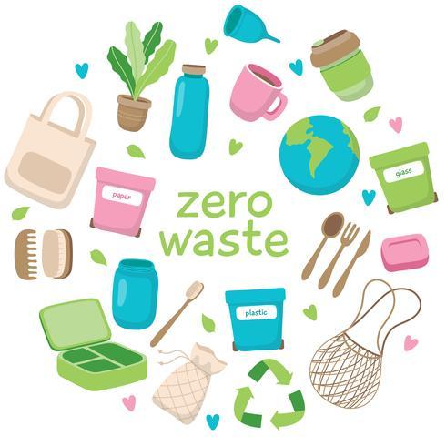Illustrazione di concetto di spreco zero con diversi elementi e scritte. Stile di vita sostenibile, concetto ecologico.