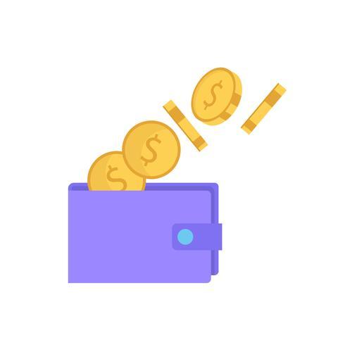 Portafoglio con monete, illustrazione vettoriale isolato in stile piano, icona per investimento, risparmio, banca, finanza e denaro.
