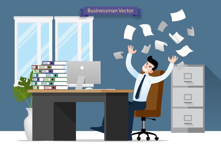 Estrés del hombre de negocios en el escritorio por mucho trabajo. Diseño plano del ejemplo del vector de carácter del empleado con la pila de papel que trabaja muy difícilmente con la computadora personal.
