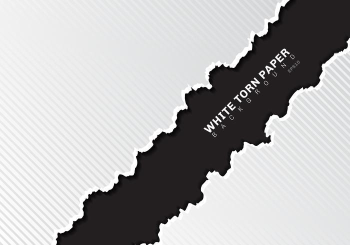 I bordi bianchi della carta lacerata con ombra e le linee diagonali del modello strutturano su fondo nero con lo spazio della copia. vettore