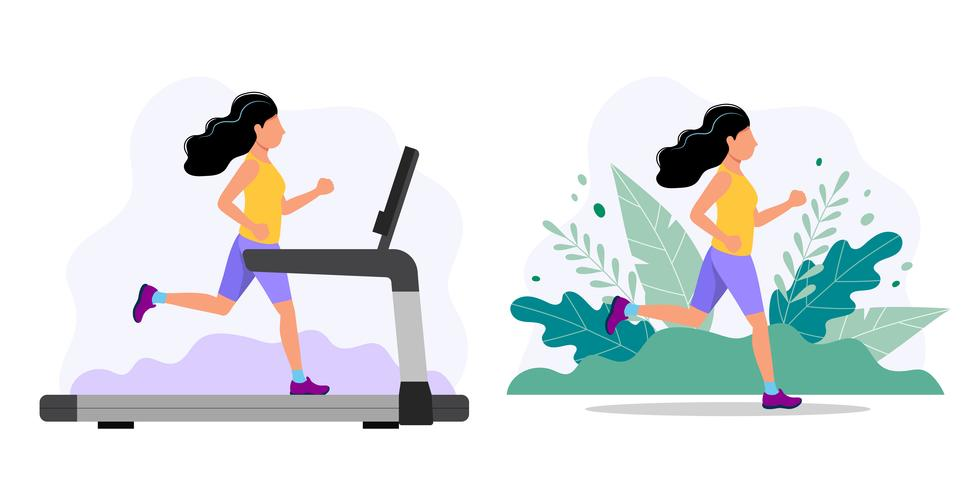 Mujer que corre en la cinta y en el parque. Ilustración del concepto para trotar, estilo de vida saludable, hacer ejercicio. vector