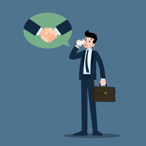 Affärsman pratar med mobiltelefon och har framgång i förhandlingar om hans affärer, marknadsföring, hantera sina partners.