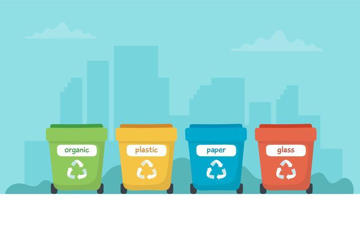 Ejemplo de clasificación de residuos con diferentes contenedores de basura de colores, ilustración de concepto para reciclaje, sostenibilidad.