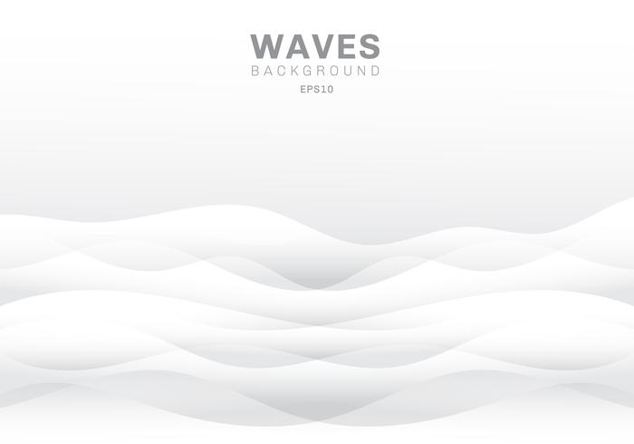Abstract white waves background and texture with copy space. Smooth wavy nature.