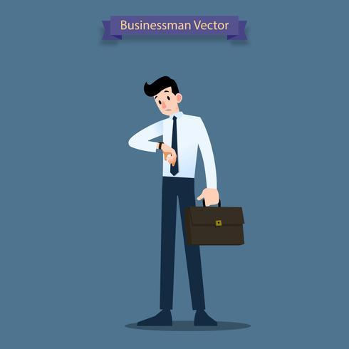 El hombre de negocios mira su reloj para verificar la hora y espera a un compañero de trabajo oa su comerciante alrededor de un minuto a otra.