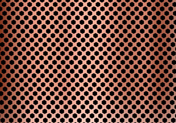 Abstract copper metal background made from hexagon pattern texture. Geometric black and red. vector