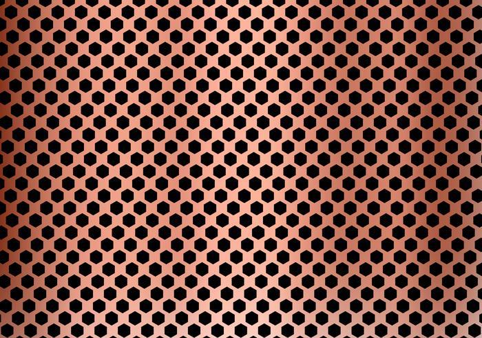 Fondo de cobre abstracto del metal hecho de textura del modelo del hexágono. Geometría negra y roja. vector