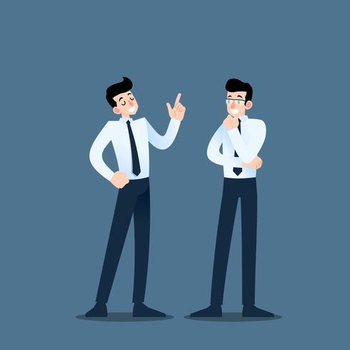 Due uomini d'affari che parlano a vicenda. L'impiegato parla con il team di idee di business o di organizzazione commerciale. vettore