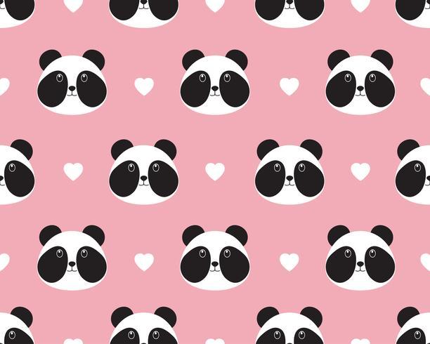 Padrão sem emenda do rosto de panda bonito com coração em fundo doce