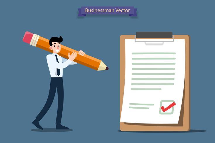 De zakenman die een groot potlood houdt en neemt goede besluit om op een groot document en een karton te vinkje.