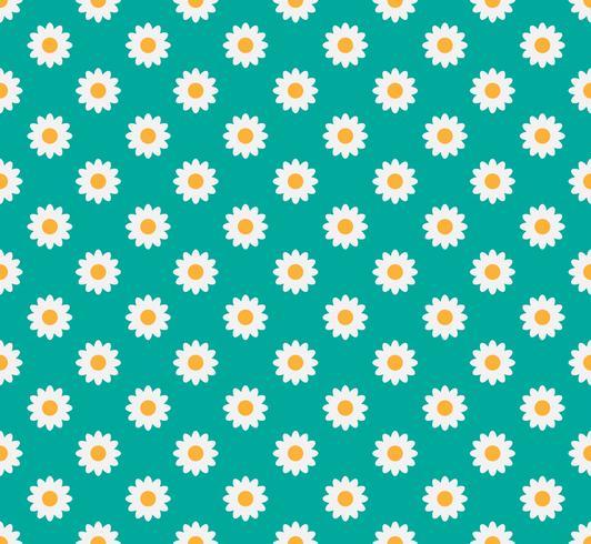 Seamless mönster av tusensköna blomma på en pastellgrön bakgrund - Vektor illustration