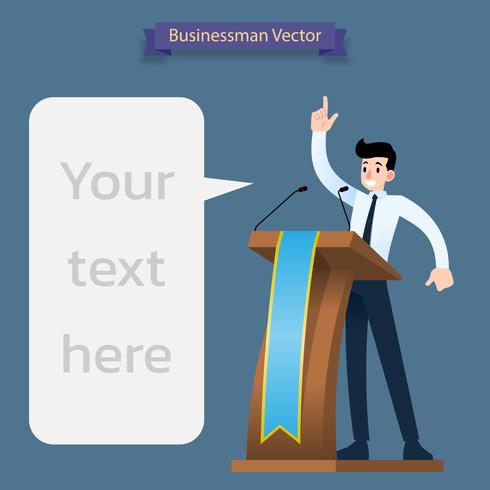 Businessman presenting, giving a speech at the wood podium with two microphones. vector