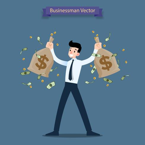 Happy businessman holding a money and gold coin bag, sack. Rich people who can make a lot of income, profit financial. vector