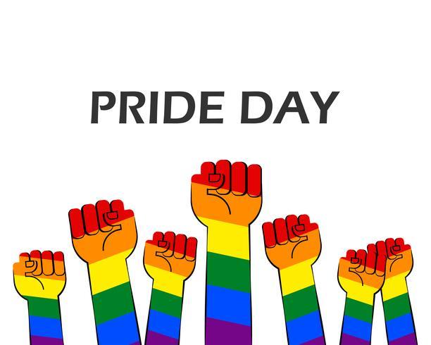 La ilustración del vector del día del orgullo con las manos rayadas del arco iris muestra el puño levantado para arriba en el fondo blanco