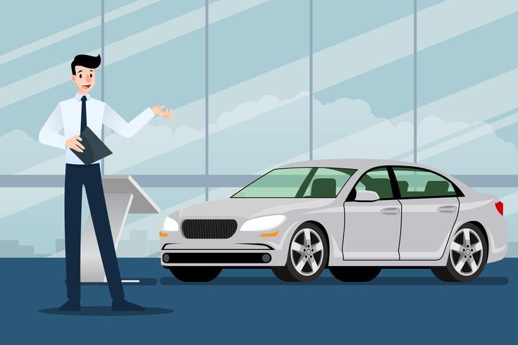 Ein glücklicher Geschäftsmann, Verkäufer steht und stellt sein Luxusauto dar, das im Showraum parkte. Vektorillustrationsdesign.