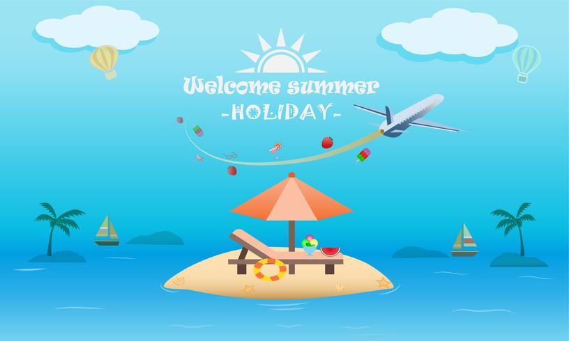 Vector of summer beach activity concept, welcome to holiday summer