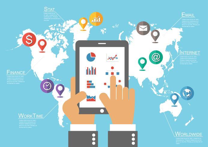Zakenman houden tablet en wereldkaart met locatie aanwijzer (Infographic vector)