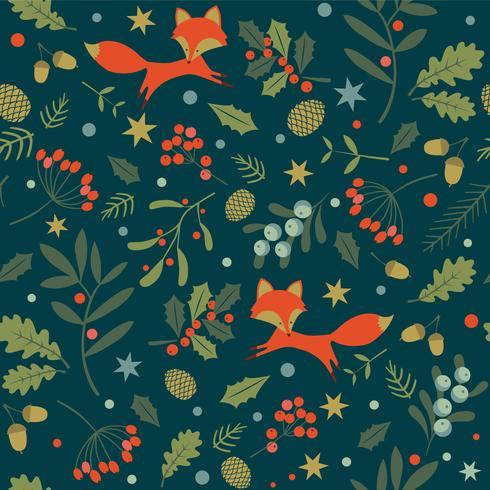 Lindos zorros y bayas silvestres de patrones sin fisuras bosque