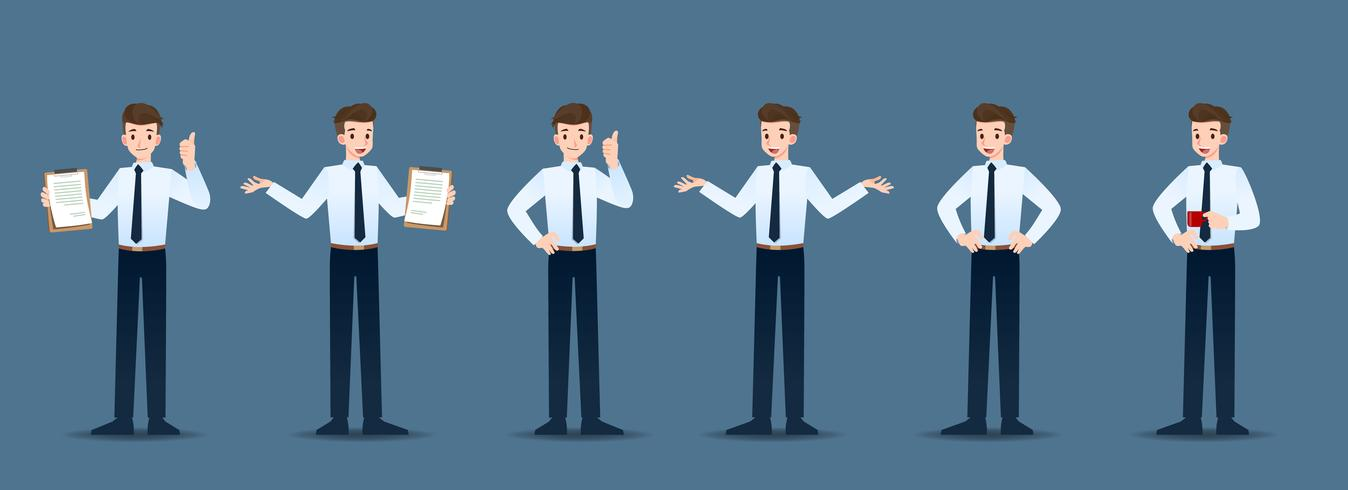 Set of businessman in 6 different gestures. People in business character poses like waiting, communicate and successful. Vector illustration design.
