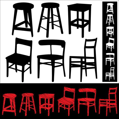 Set of chairs and stools