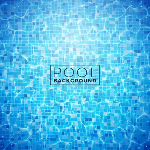 Vectorwater in het betegelde pool achtergrondontwerpmalplaatje. Zomer illustratie met glanzende golven voor banner, flyer, uitnodiging