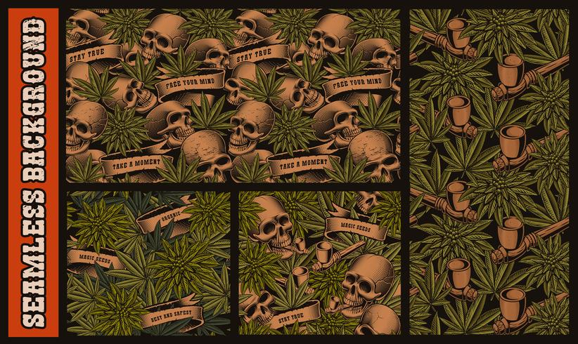 Set of seamless patterns with skulls and cannabis
