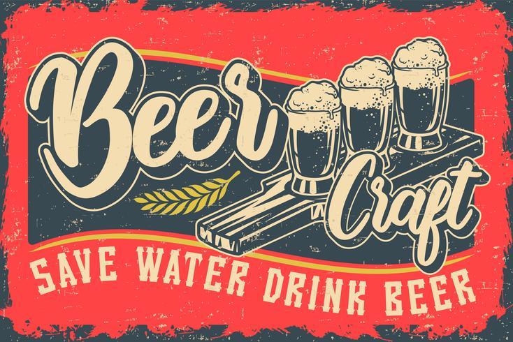 Cor ilustração vetorial com cerveja e lettering