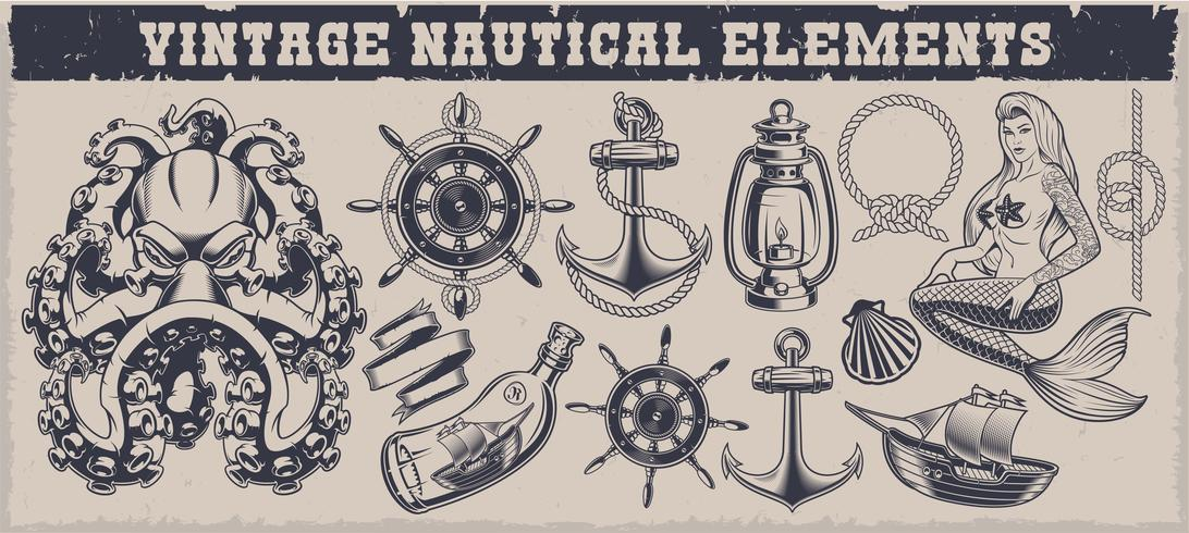 Set of black and white vintage nautical elements vector
