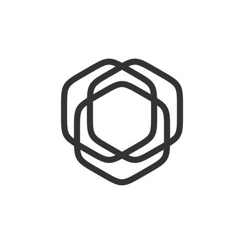 Hexagonal Line Logo Mall Illustration Design. Vektor EPS 10.