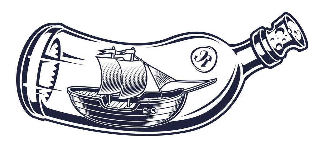 Ilustración vectorial de una botella con una nave