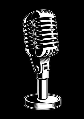 Vektorillustration des Mikrofons auf schwarzem Hintergrund