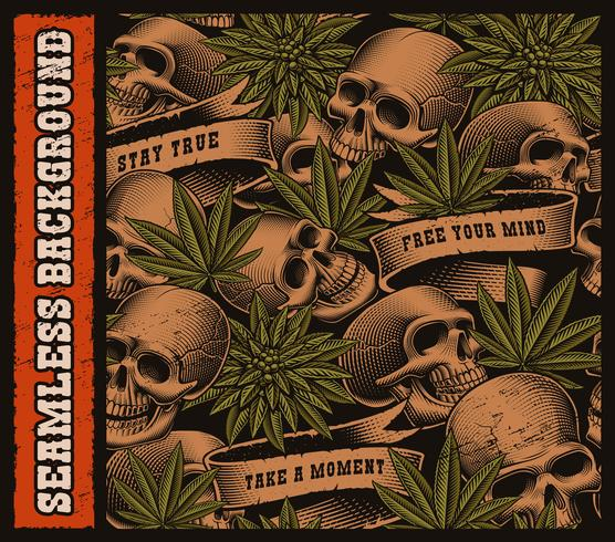 Seamless background of skulls and cannabis leaves vector