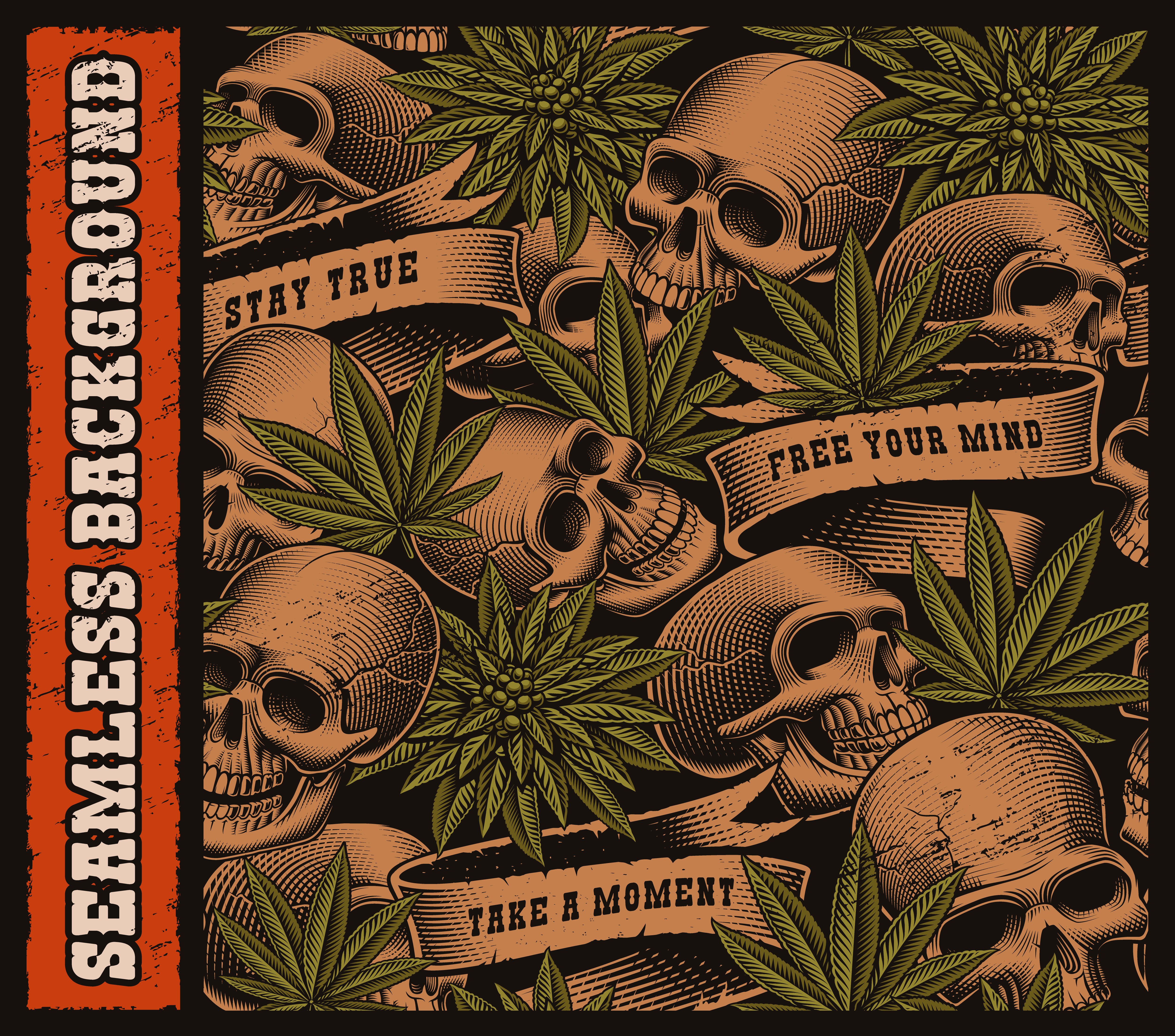 Retro Style With Skull: Seamless Background Of Skulls And Cannabis Leaves