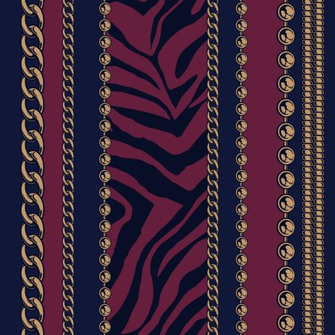 Seamless pattern of chains and animal print. vector