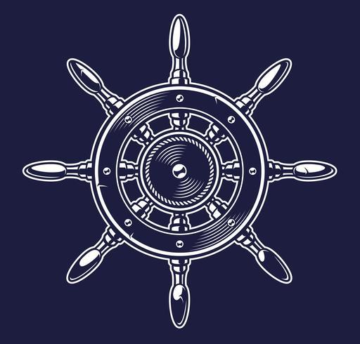 Illustration vectorielle de la roue d'un navire sur le fond sombre