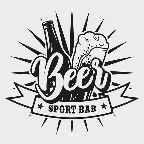 Logo pour bar à bière sur fond blanc vecteur