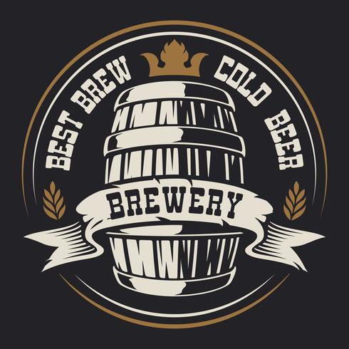 Badge with a barrel of beer vector