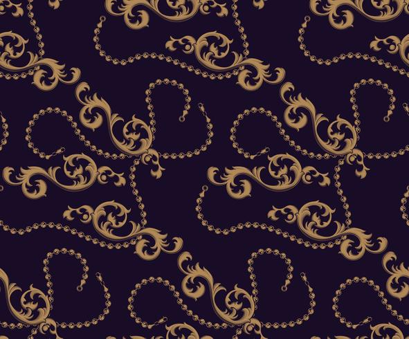 Seamless pattern of Baroque elements and chains vector