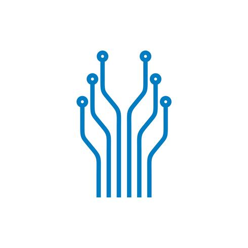 Elektronisk kretslinje, teknik Logo Mall Illustration Design. Vektor EPS 10.