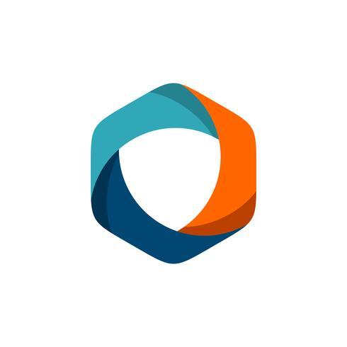 Diseño colorido del ejemplo de la plantilla de la insignia de la lente del hexágono. Vector EPS 10.