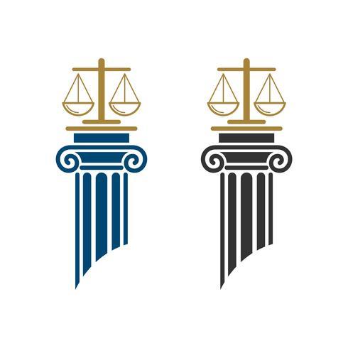 Balance of Law et Pillar Law Office Logo Illustration Modèle de conception. Vecteur EPS 10.